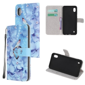 Samsung Galaxy A10 wallet case cover blue butterfly