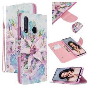 Huawei P30 Lite Pattern Wallet Case Cover flower pink purple