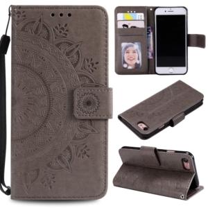 iPhone 7 8 se 2020 wallet case cover Grey Mandala flower