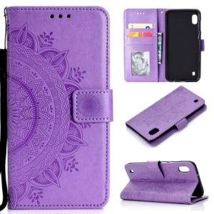 wallet case for Samsung Galaxy A10 purple mandala