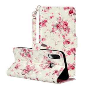 Huawei P30 lite wallet case cover pink flowers