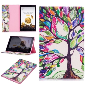 Wallet Stand Protective Tablet Case for Amazon Fire HD 10 (2015) (2017) - colourful tree