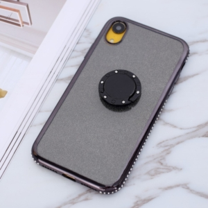 iphone XR glitter sparkle case with ring stand Black