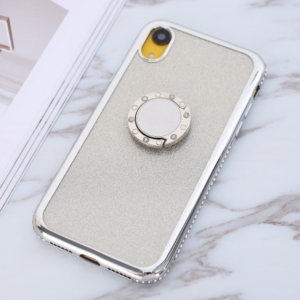 iphone XR glitter sparkle case with ring stand Silver
