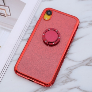iphone XR glitter sparkle case with ring stand red