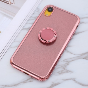iphone XR glitter sparkle case with ring stand pink rose gold