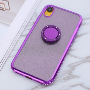 iphone XR glitter sparkle case with ring stand Purple