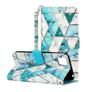 Green Marble Pattern Wallet Case for Huawei Y5P