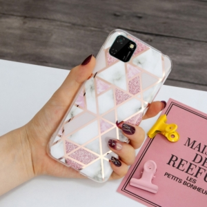 decoratve back cover for huawei Y5P pink marble